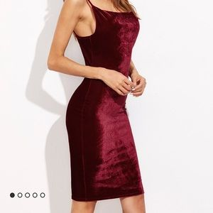 Dresses & Skirts - Burgundy velvet cami sheath dress